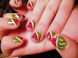 Nail Art- Watermelons by marikob-k