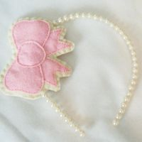 Pink and Cream Bow Headband by hellohappycrafts