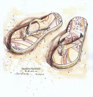 Sketchbook - Beach slippers by dh6art