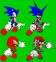 Cyborg Sonic + Cyborg Knuckles by avianis