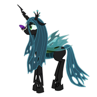Queen Chrysalis and butterfly by SpaceHunt