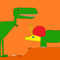 Tyrannosaurus rex and Triceratops: Lovers in Love by Gojirafan1994
