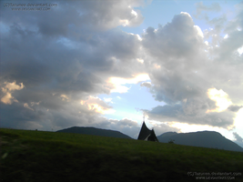 The little church above the lawn by Tazunee