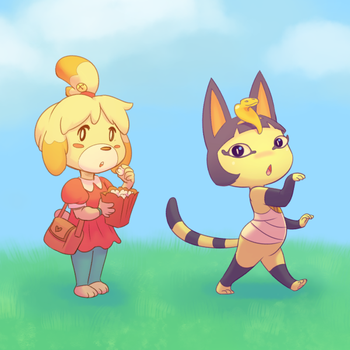 Acnl Isabelle and Ankha by artkitty