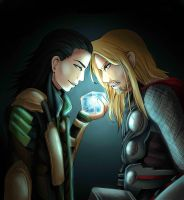 Loki and Thor by MokkunChan