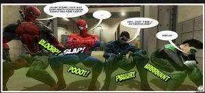 Four Superheroes With Terrible Gas by JoeMikeonDeviantart