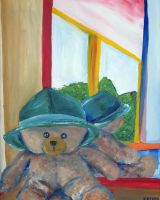 Bear With Hat Front Of Mirror by GMAC06