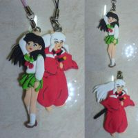 Inuyasha and Kagome Clay Figure by GothicMonochrome