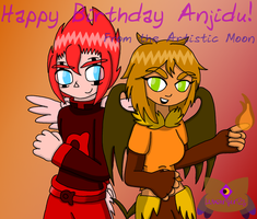 Alpha and Flamegirl: B-day Pic for Anjidu by LunarGirl2z