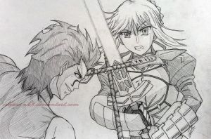 Lancer VS Saber by Izham-ZK9