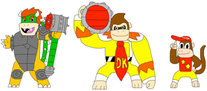 Skylanders-Earth Bowser-Donkey Kong-Diddy Kong by jacobyel