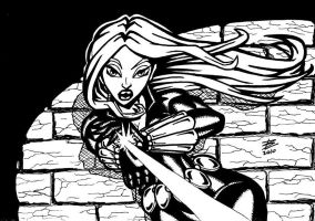 Black Widow - black and white by bonisol