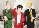 Zoro, Luffy and Sanji in an evening party style by Reito-sama