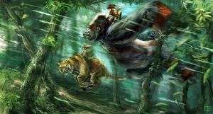 Gorilla vs Tiger 1 by OmenD4