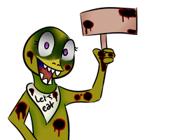 Chica holding a sign [blanck] by hylidia