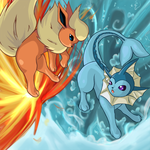 Flareon and Vaporeon by Yuese