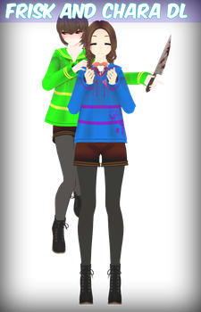[MMD X Undertale] My Frisk and Chara dl by amyolimpet