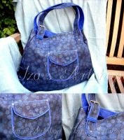 Blue swirls leather tote bag by izasartshop