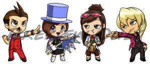 Apollo Justice Chibis by Red-Flare