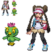 Black2 White2 Female Trainer Cactowl Sprites by DMN666