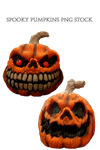 Spooky Pumpkins PNG STOCK by KarahRobinson-Art