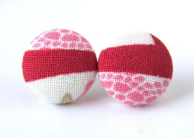 Stud earrings button spring pink red white dots by KooKooCraft