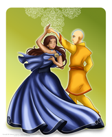 Aang and Katara - Freedom by selinmarsou