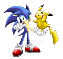 Sonic and Pikachu by shadowhatesomochao