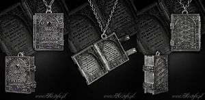 Book of Shadows Book Locket Pendant by Euflonica