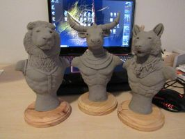 WIP The three Ancestral Races busts by ArtOfVaelys