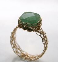 Aventurine Wire Knitted Ring by WrappedbyDesign