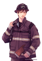 Firefighter Kagami by reddii