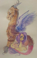 Discord + Fluttershy Painting ( for sale ) by Busoni