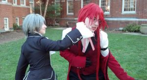 Ciel punches Grell by SailorDerp