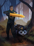 Sword Challenge: Aguy and A Panda by Lydiamay