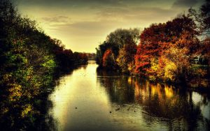 River in autumn ambience by Maxikq