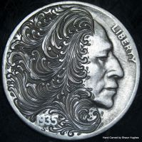 WAVES hand carved Buffalo Nickel by Shaun Hughes by shaun750