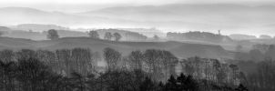 Morning panorama BW by Spyder-art