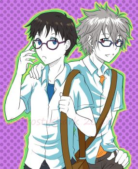 Shinji and Kaworu glasses by frostyshark