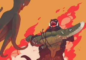 Gamera vs Guiron vs Viras by tohdaryl