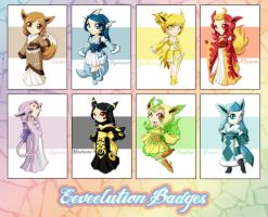 .:Eeveelution Badges:. by ToxicStarStudio
