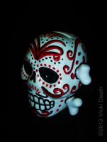 Black And Red Dia de Muertos Skull And Cross Bones by Vicki-Death