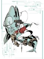 Aqua Nunchucks Print by JimMahfood-FoodOne