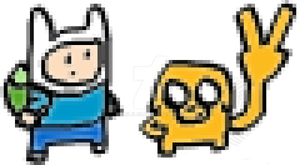 Chibi pixel art of Finn and Jake by SmileLee