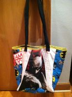 Upcycled Batman T-shirt Bag - Side 1 by snowtigra