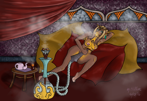 Concubine Smoking Shisha (Commission) by TheArtLone