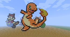 Happy Charmander ~ Pixel Art by pbv9