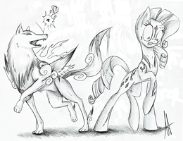 [Sketch] The Wolf and the Pony by Ardas91