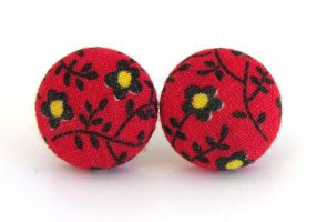 Bright red stud earrings button black yellow by KooKooCraft