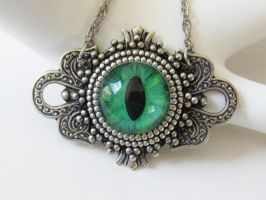 Handpainted Cat Eye Necklace by JasGlassArt